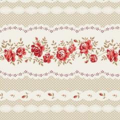 Coleção Composê - Barrado Rosas Vermelho