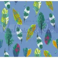 Tecido Tricoline Coleção Talismã - Penas Azul