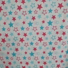 Tecido Tricoline Estrelas Tiffany