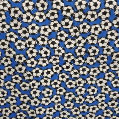 Tecido Tricoline Bolas de Futebol Azul