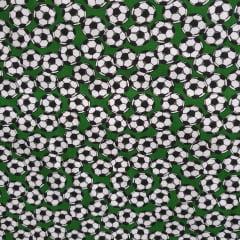 Tecido Tricoline Bolas de Futebol Verde