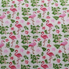 Tecido Tricoline Flamingos Fundo Branco