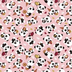 Tecido Tricoline Panda Feliz