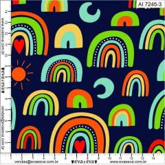 Tecido Tricoline Arco Iris Fundo Marinho