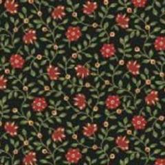 Antique Flores Vermelhas Fundo Preto