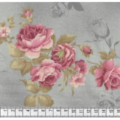 Tecido Tricoline Rosas Grandes Cinza Claro