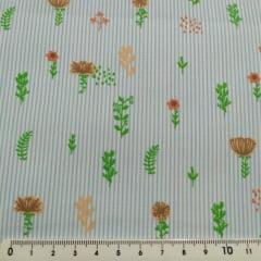 Tecido Tricoline Floral Laranja c/ Listra