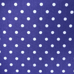 Tecido Tricoline Bolas Brancas Fundo Azul