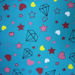 Tecido Tricoline Estrelas, Diamantes e Corações