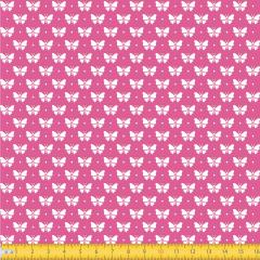 Tecido Tricoline Borboletinha Fundo Pink