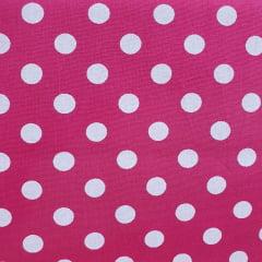 Tecido Tricoline Bola Pink com Branco Peripan
