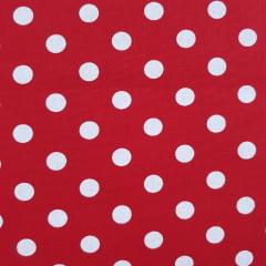 Tecido Tricoline Bola Vermelha com Branco Peripan