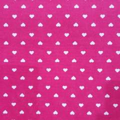Tecido Tricoline Mini Coração Fundo Pink