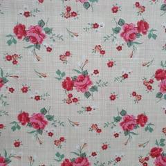 Tecido Tricoline Rosas Com Textura Fundo Bege