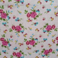 Tecido Tricoline Rosas Com Textura Fundo Rosa