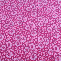 Tecido Tricoline Flores Rosa e Branco