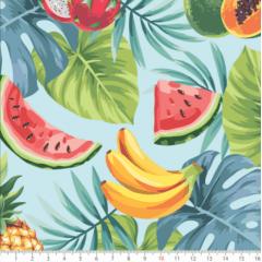 Tecido Tricoline Frutas e folhas