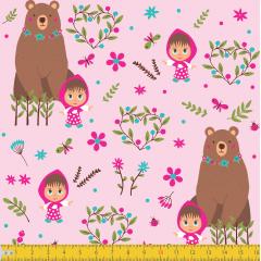 Tecido Tricoline Masha e Urso