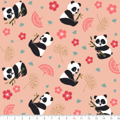 Tecido Tricoline Panda Fundo Salmao