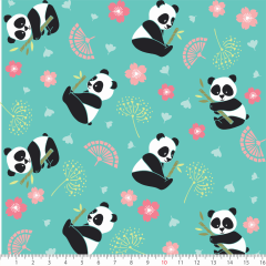 Tecido Tricoline Panda Fundo Verde