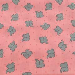 Tecido Tricoline Mini Elefantes Rosa