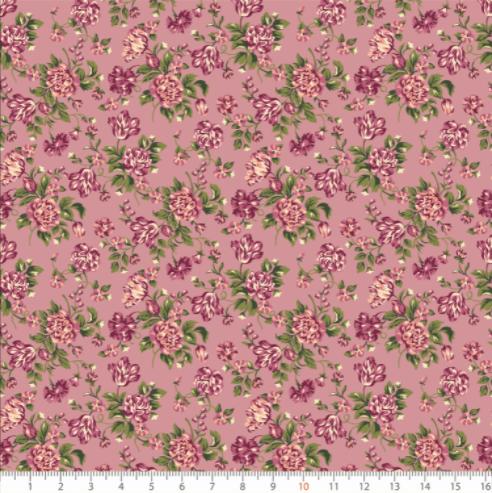 Tecido Tricoline Botões de Rosa e Folhas