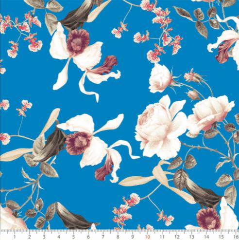 Tecido Tricoline Flores Azul
