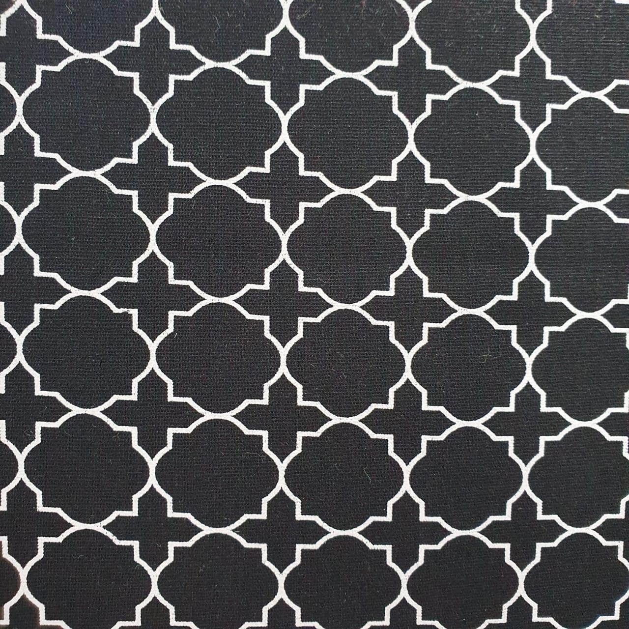 Tecido Tricoline Geometrico M Preto