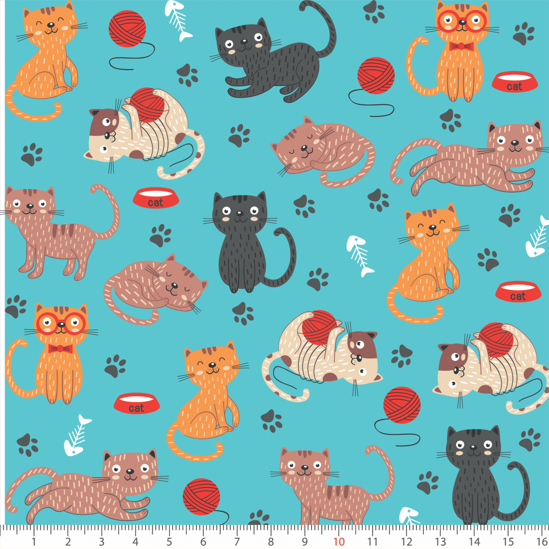 Tecido Tricoline Gatos Cat